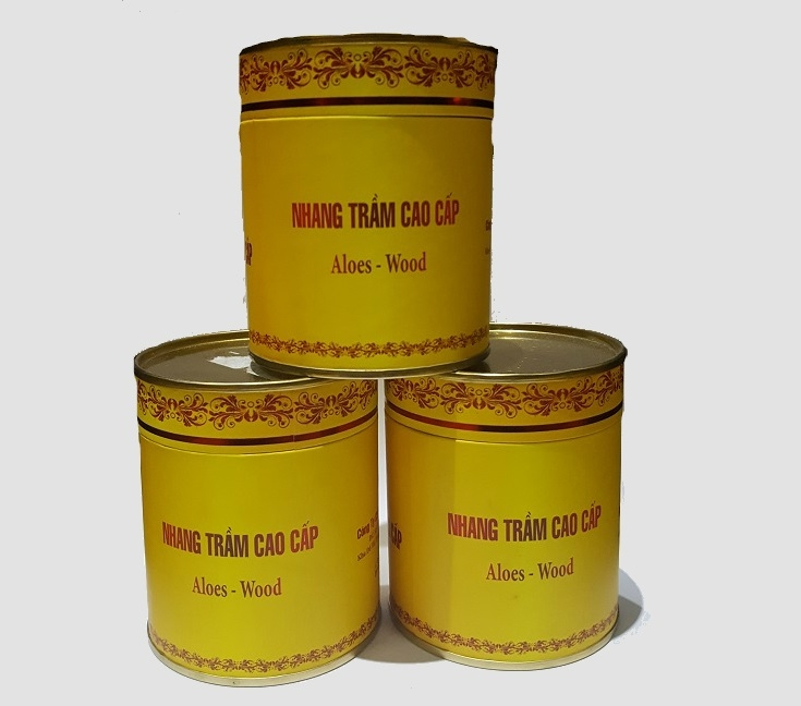 Nhang vòng hộp sắt vàng dán tem da cam