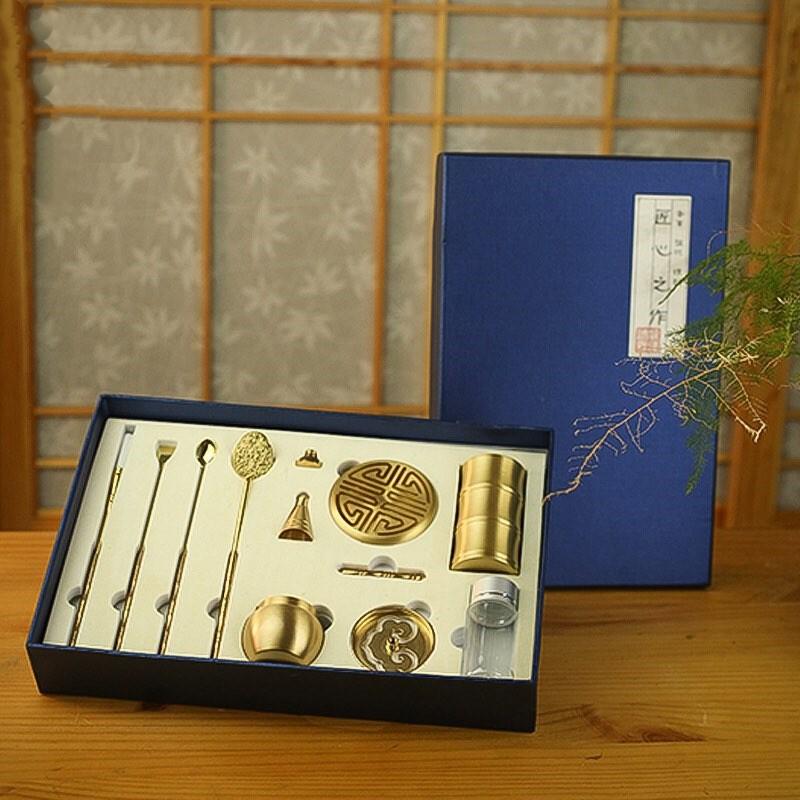 Bộ dụng cụ tạo hình khuôn đốt bột trầm hương xông trầm nụ bằng đồng nguyên chất